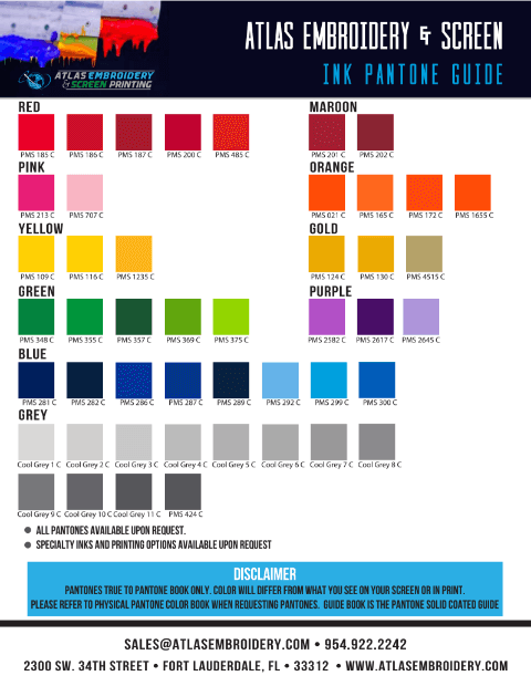 Standard Pantone Color Options